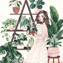 Plant Lady. Un proyecto de Ilustración y Pintura a la acuarela de Camila Cerda - 09.09.2021
