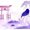 Mi Proyecto del curso: Ilustración en acuarela con influencia japonesa. Un proyecto de Dibujo, Ilustración y Pintura a la acuarela de Ximena Martinez - 27.09.2021