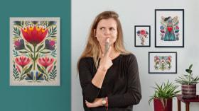 Einführung in die Blumenillustration mit Acryl. A Illustration course by Maya Hanisch