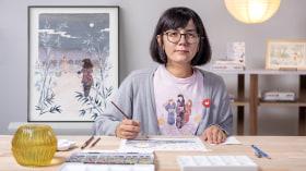 Ilustración en acuarela con influencia japonesa. Un curso de Ilustración de Flor Kaneshiro