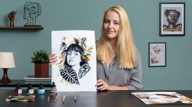 Ilustración de retrato con técnicas analógicas y digitales. Un curso de Ilustración de Amy Pearson