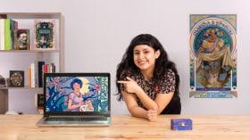 Illustrierte Porträts im Jugendstil. A Illustration course by Celeste Vargas Hoshi