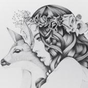 Deer Woman Illustration Kata Zapata. Un proyecto de Diseño e Ilustración de ktalink - 16.12.2012