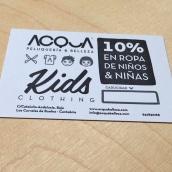 Tarjeta de descuento en ropa de niños para ACQUA   Peluquería & Belleza. Un proyecto de Diseño de María Caballer - 13.11.2013