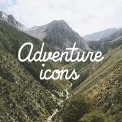 Adventure icons. Un proyecto de Diseño gráfico e Ilustración de Como el buen vino - 30.11.2014