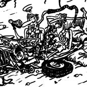 """Viñeta """"Senda de los elefantes"""". Un proyecto de Cómic de Miguel Angel Arqués Orobón - 01.06.2015"""