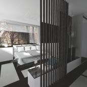 Dormitorio coloreado por la naturaleza. Un proyecto de Diseño, 3D, Arquitectura interior, Diseño de interiores y Diseño de iluminación de Rubén Couso - 19.10.2015