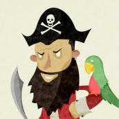 Ilustraciones Pirata pata de palo . Fábula infantil. Un proyecto de Diseño de personajes e Ilustración de Saúl Arribas Miguel - 16.11.2015