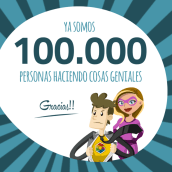 Gracias! Ya somos 100.000!. A Design, Advertising, IT, Education, Events, Information Architecture, Marketing, Multimedia, Web Design & Infographics project by Genially Web - 05.30.2016