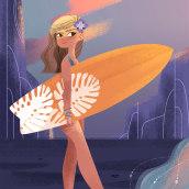 Surfer Girl. Um projeto de Artes plásticas, Design de personagens e Ilustração de Lydia Sánchez Marco - 25.09.2016