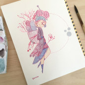 Pink girl. Um projeto de Artes plásticas, Design de personagens e Ilustração de Lydia Sánchez Marco - 17.10.2016