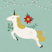 Christmas Unicorn. Un proyecto de Ilustración de Eva Mez - 23.12.2016
