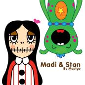 Madi & Stan, Mi Proyecto del curso: Crea un Art Toy. Um projeto de Design, Design de personagens e Ilustração vetorial de María González - 14.07.2017