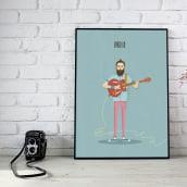 Ilustración guitarrista Indie. Un proyecto de Ilustración e Ilustración vectorial de Rafa Villarraso - 18.07.2017
