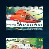 Helicópteros. Sello postal. Un proyecto de Diseño gráfico e Ilustración de Roberto Roiz - 07.05.2017