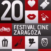 Cartel 20 Festival de Cine de Zaragoza 2015 - Concurso. Un proyecto de Diseño gráfico de Sonia San José Campos - 01.09.2015