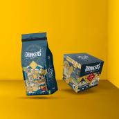 Drinkers - Coffee Fanatics. Um projeto de Br, ing e Identidade, Ilustração digital e Packaging de twineich - 09.05.2018