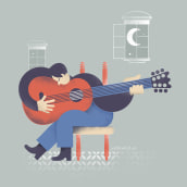 Guitar song. Un proyecto de Diseño gráfico e Ilustración de Fran Torres - 19.05.2018