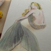 Sirena en acuarela para MerMay 2018. Un proyecto de Ilustración, Bellas Artes, Pintura, Dibujo a lápiz y Dibujo de Vianys Morales Gomez - 31.05.2018