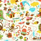 Corte Inglés - Papel de envolver infantil. A Illustration project by Flor Kohan - 04.10.2018