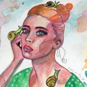 Mi Proyecto del curso: Retrato ilustrado en acuarela. Un proyecto de Bellas Artes de Kar Kelevra - 25.06.2018