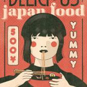 """""""Japan Food"""" ©Hugo Giner 2018.. Um projeto de Design, Ilustração, Artes plásticas, Design gráfico, Ilustração vetorial e Ilustração digital de Hugo Giner - 24.07.2018"""