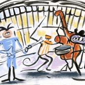 Faro Rockabilly. Nelson Piña & his Comets. . Un proyecto de Ilustración, Pintura, Ilustración vectorial, Ilustración digital, Pintura a la acuarela y Concept Art de Miguel Gosálvez Mariño - 14.08.2018