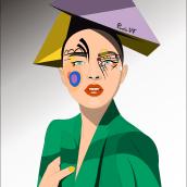Ilustración- tributo a Kandinsky. Un projet de Illustration, Design graphique, Dessin et Illustration de portrait de Paola Vives Forner - 17.09.2018