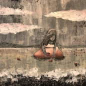 Buscando conchas en la playa - Ilustración proyecto personal. Un projet de Illustration de Anna Miró Solaní - 29.09.2018
