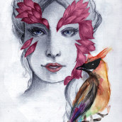 Plumas. A Design, Photo retouching, Sketching, Pencil drawing, Drawing, Digital illustration, Watercolor Painting, Portrait Drawing, Realistic drawing, and Artistic drawing project by Marina Regali - 11.16.2018