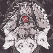 La princesa Mononoke // Princess Mononoke. A Design, Illustration, Art Direction, Graphic Design, Film, Poster Design, and Digital illustration project by Dani Torres - 11.15.2018