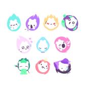 Mitsuko stickers - Sticker Place. Um projeto de Diseño de iconos e Design de personagens de Sara Gummy - 29.01.2018