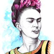 Frida Kahlo. Un progetto di Illustrazione, Creatività, Disegno, Pittura ad acquerello, Illustrazione di ritratto , e Disegno di ritratto di Beatriz - 23.11.2018