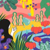 """""""Organic paradise"""" va de mundos imaginarios donde naturaleza y seres de líneas sinuosas se funden en un caos psicodélico y de colores infinitos. Eso es!. Um projeto de Design, Ilustração, Artes plásticas, Design gráfico, Ilustração vetorial, Desenho e Ilustração digital de Hugo Giner - 01.01.2019"""