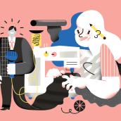 Mujeres en los medios. Um projeto de Ilustração digital de Maryna Kizilova - 24.02.2019