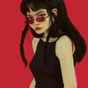 Red Glasses  Girl . Um projeto de Ilustração, Ilustração digital e Desenho de Retrato de Rafa Flores Art - 05.03.2019