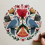 Two birds Co-working. A Painting project by Maya Hanisch - 12.08.2018