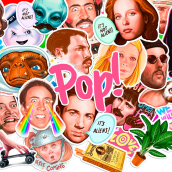 Pop! stickers. A Design, Illustration, Product Design, Digital illustration, and Portrait illustration project by Vero Navarro - 04.22.2019