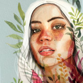 Mi Proyecto del curso: Retrato ilustrado en acuarela. A Pencil drawing, Digital illustration, Watercolor Painting, and Portrait illustration project by Lourdes Villagra - 04.27.2019