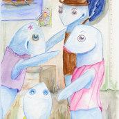 La lubina Josefina piragüista en el Descenso del Sella. A Illustration, Fine Art, and Children's Illustration project by Diana Sobrado - 05.10.2017