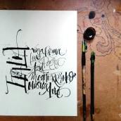Mi Proyecto del curso: Caligrafía con tiralíneas. Un proyecto de Caligrafía de Diana M. Beltrán Noriega - 09.06.2019