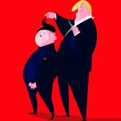 Trump & Kim. A Illustration, Character Design, Vector Illustration, and Portrait illustration project by Jorge Arévalo - 06.30.2019