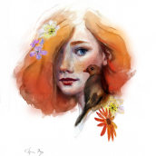 Mi Proyecto del curso: Retrato ilustrado en acuarela. A Illustration project by Carmen Rey - 07.19.2019
