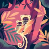 Sifaka Diademado - especies en peligro para OneMillionOneMonth. A Illustration, Digital illustration, and Children's Illustration project by Gemma Román - 06.02.2019