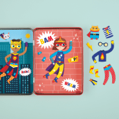 Nuevo Super Kids! Magnetic Dress-Up for Mudpuppy. Um projeto de Animação de personagens, Design de brinquedos e Ilustração de Fabiola Correas - 19.08.2019