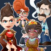 GLOW. Diseño de personajes. . Um projeto de Desenho, Design de personagens e Ilustração de Roselino López Ruiz - 07.09.2019