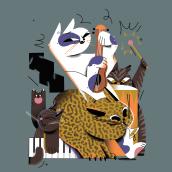 Cats' Band/ Banda de gatos. Um projeto de Ilustração infantil de Maryna Kizilova - 11.11.2019