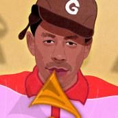 Tyler, The Creator. Grammys 2020. Un proyecto de Ilustración, Diseño editorial, Ilustración digital e Ilustración de retrato de Capi Cabrera - 29.01.2020