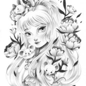 A Lady and her mice. A Pencil drawing project by Siamés Escalante - 11.15.2019