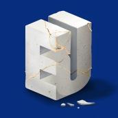 Slanted 'EU' Artwork. A Illustration, and Digital Lettering project by Birgit Palma - 03.13.2020